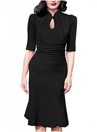 Destinas Women's Vintage Style Retro 1940s Shirtwaist Flared Tea Dress…