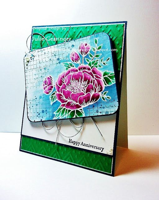 "Stamping with Julie Gearinger: SUO151 Happy Anniversary with New In-Colors; Stampin' Up! ""Birthday Blooms"", ""Timeless Textures"" and ""Teeny Tiny Wishes"" for the SUO151 ""Favorite New Papers"" Challenge.  #stampinup, #juliegearinger, #mixedmedia"
