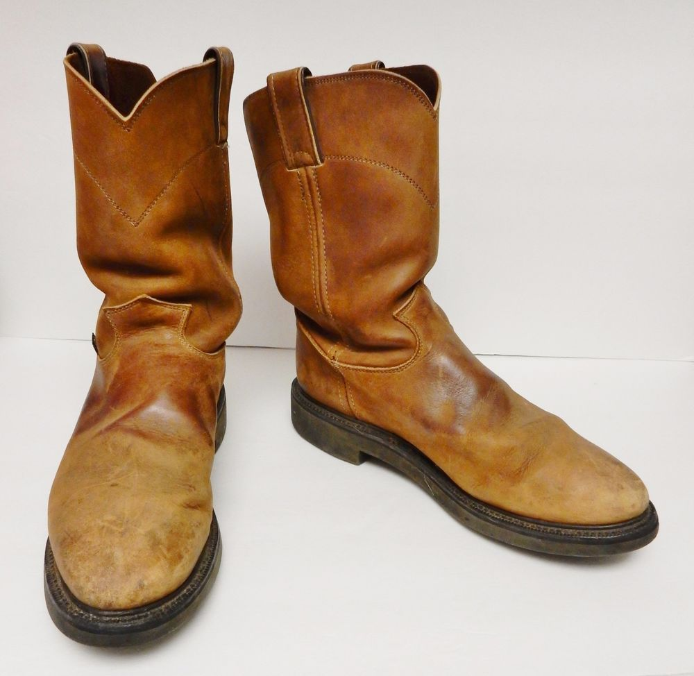d8b8603e66e32 VINTAGE JUSTIN 4760 ROPER Boots Western Work Leather USA Distress ...