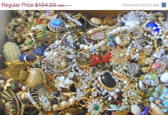 50 OFF SALE Large 14 Pound Lot Vintage Jewelry by SouthernPickings, $52.00