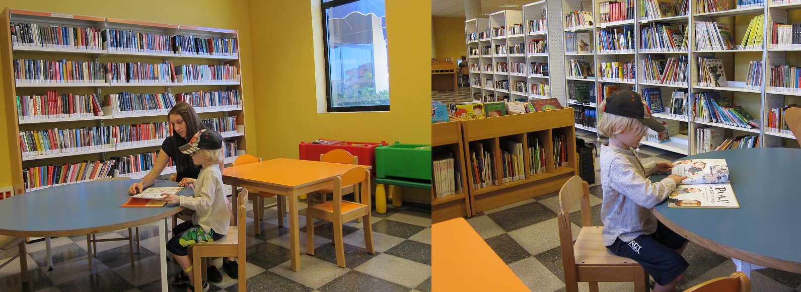 Library in Los Cristianos Tenerife. Visited in February 2014. Hidden behind an anonymous door in the cultural centre. Our son is a true library lover, so he did not want to leave this humble room. We wanted to move on to the beach, he wanted to read a picture book in spanish. http://www.boktipset.se/blogg/lottaslitteraturblogg/2014/03/06/man-vet-att-ungen-ar-son-till-en-bibliotekarie/