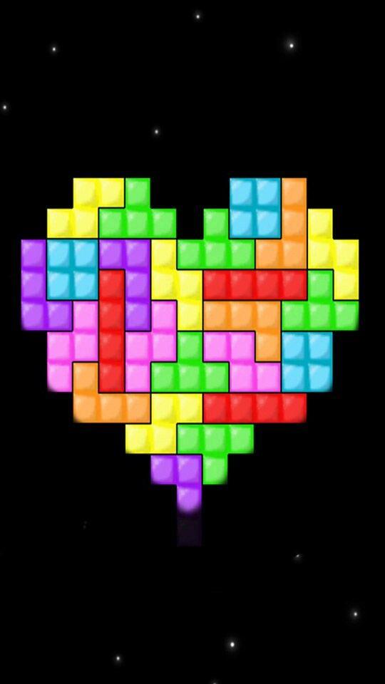 Tetris Tetris Game Heart Quilt Heart Wallpaper