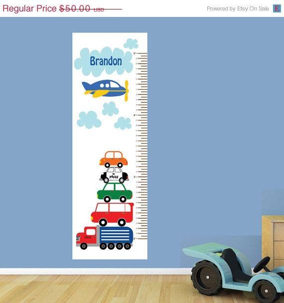 Off Sale Boys Growth Chart Fabric Wall Decal Cars Growth