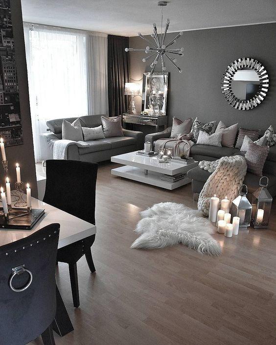 Decoracion para tu sala en color gris blanco y plateado for Casa paulina muebles y decoracion
