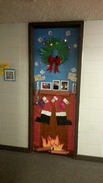 Santa Coming Down The Chimney Door Decoration Door