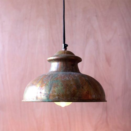 Antique Rustic One Light Dome Pendant VIII Kalalou Lighting Ceiling