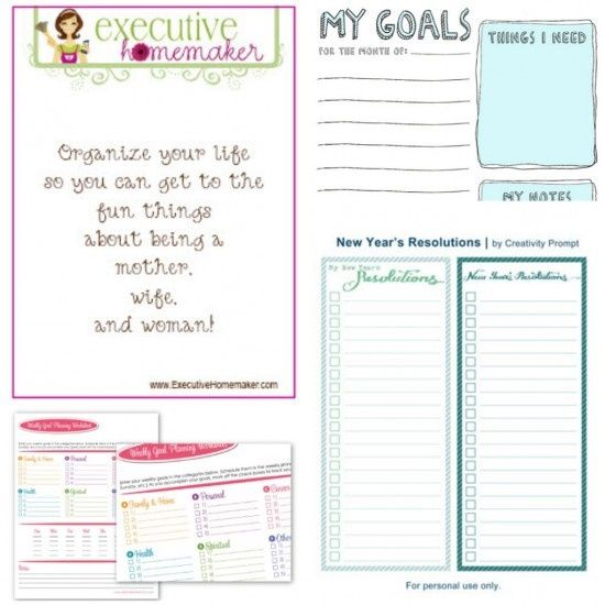 Calendar Year Goals Record : These free printables include worksheets for new year