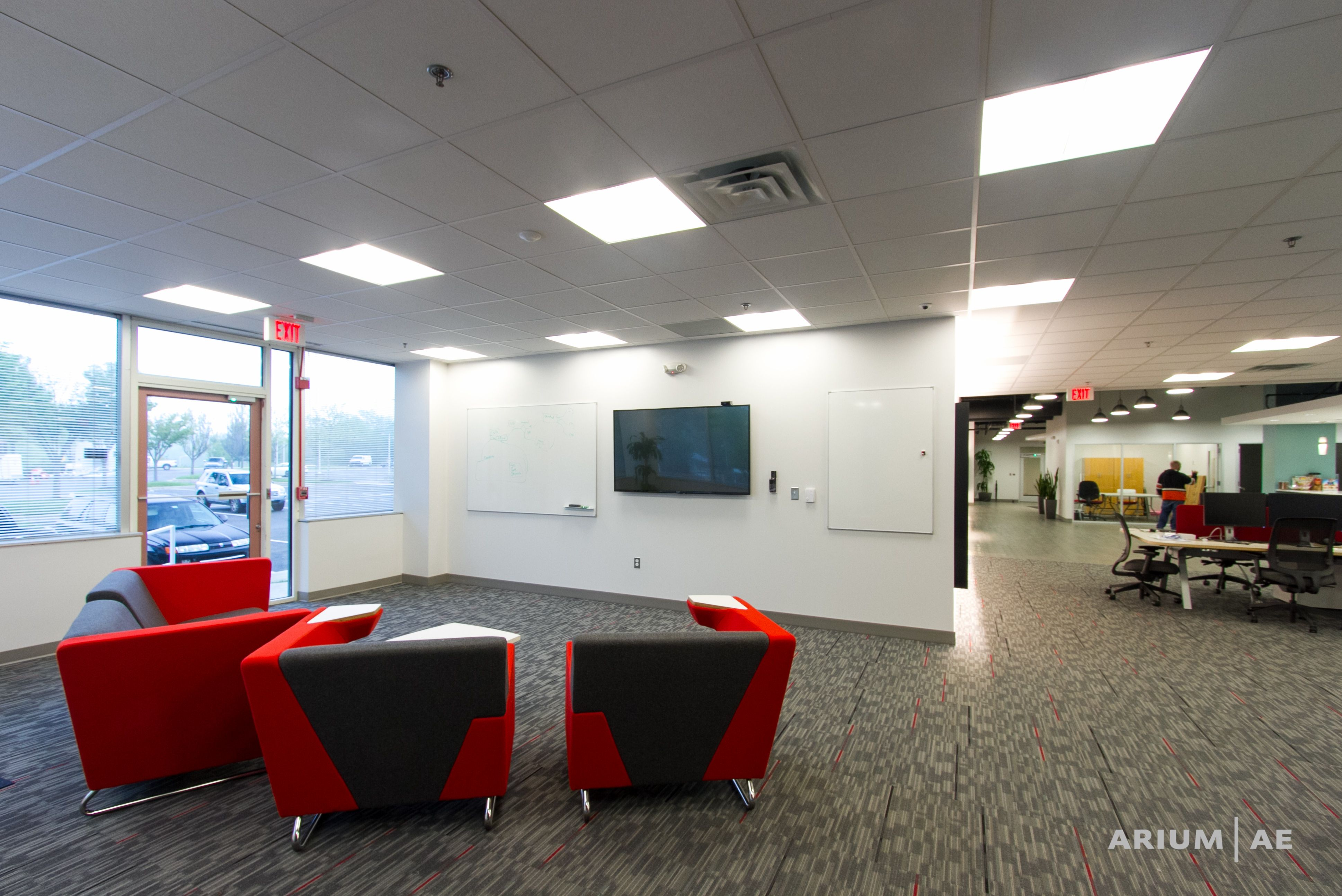Collaboration Space In An Open Office Area Light Cove Accent