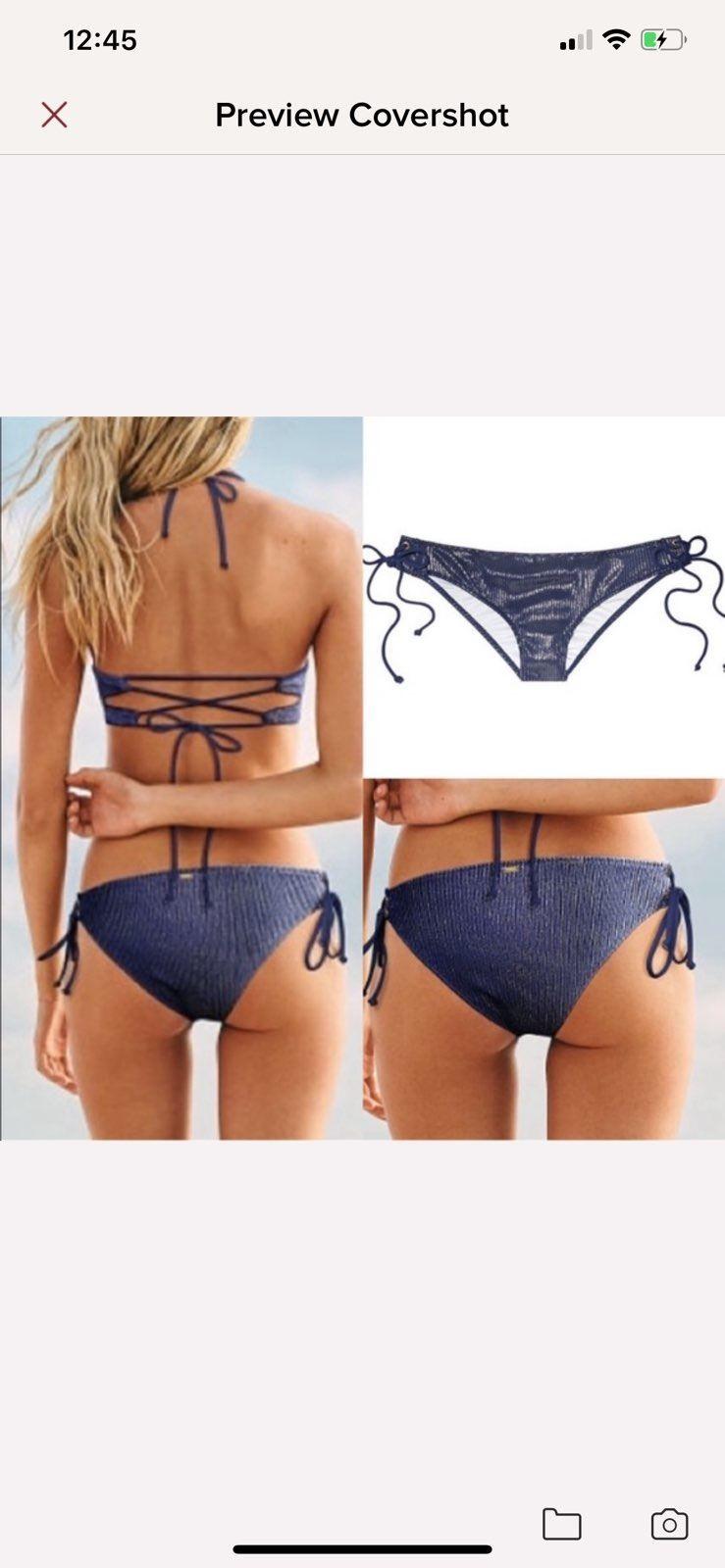 Victoria Secret Swimwear Suit Bikini Bottom Leopard Shimmer Strappy