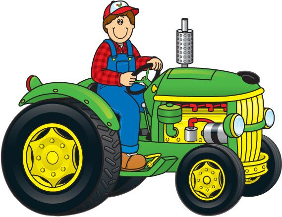 Drawing Man On Tractor : Tractor and farm background clipart g
