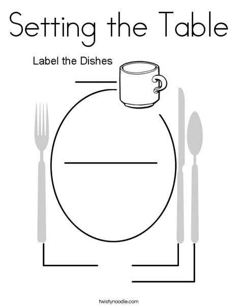 Setting The Table Coloring Page Twisty Noodle Food Coloring
