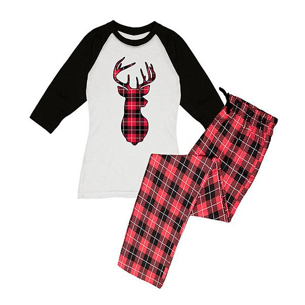 Slumber Party Black White Buffalo Plaid Reindeer Raglan Pajama Set 19 Liked On Polyvore Featuring I Clothes Design Plus Size Sleepwear Plus Size Pajamas