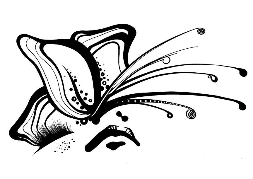 Butterfly eye fashion illustration by Rikke Jorgensen #blackandwhite #fashion #illustration