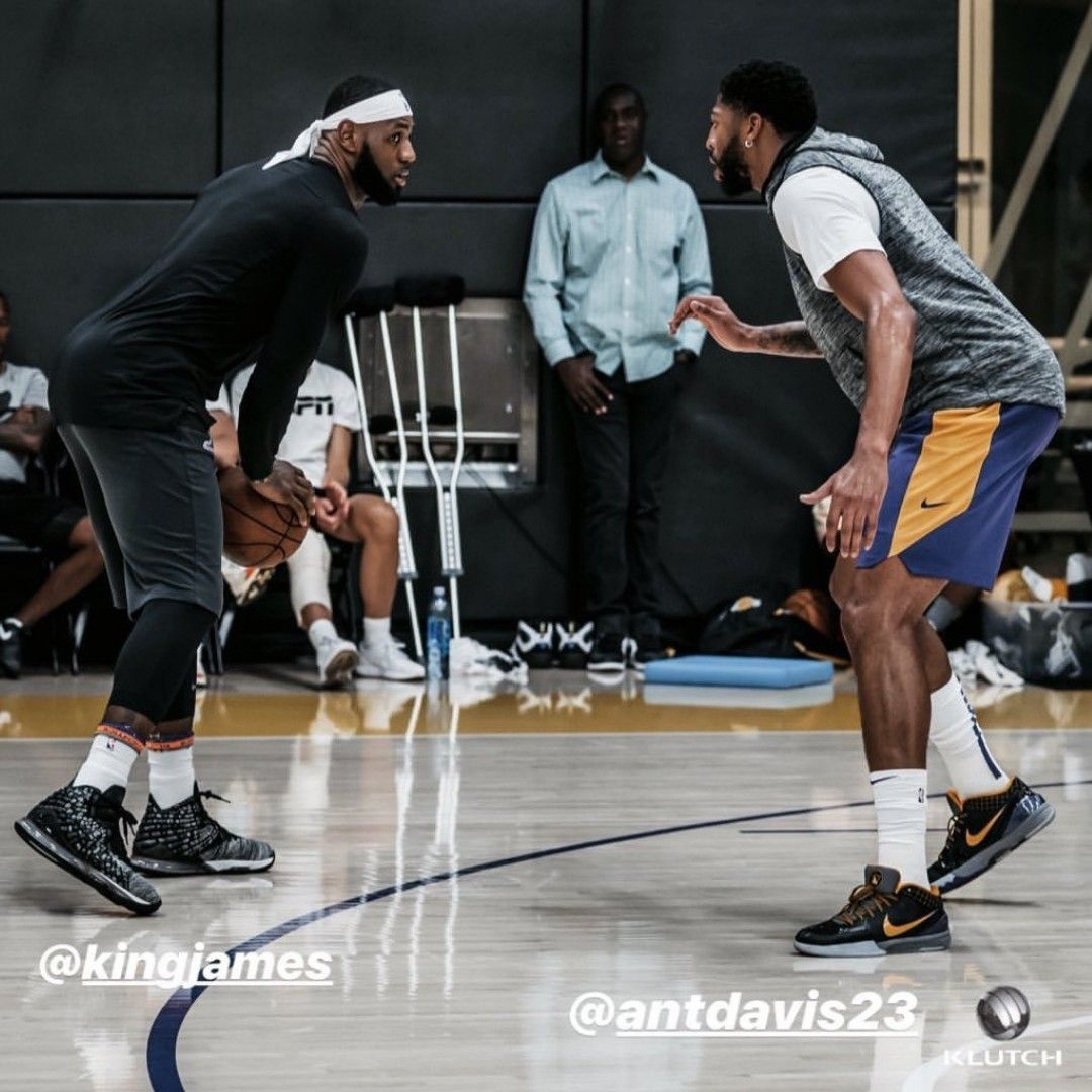 LeBron James and Anthony Davis go toe to toe in practice ...