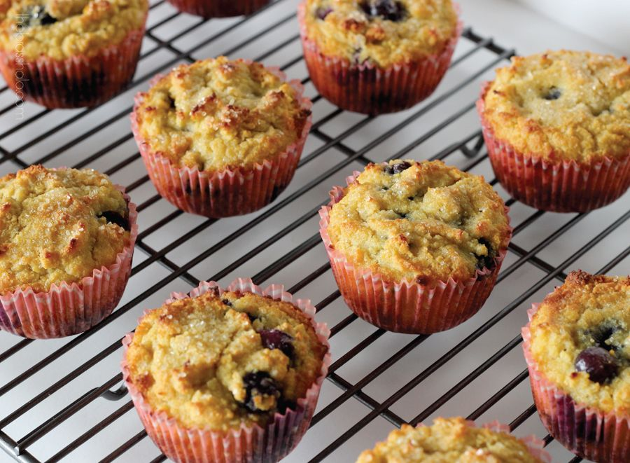 The Brass Halo: Flourless Blueberry-Lemon Muffins
