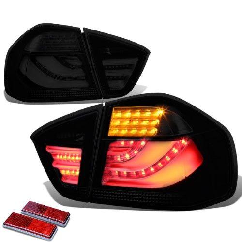 For 2005 To 2008 Bmw E90 3 Series Black Housing Smoked Lens 3d Led Rear Tail Brake Corner Signal Light 06 07