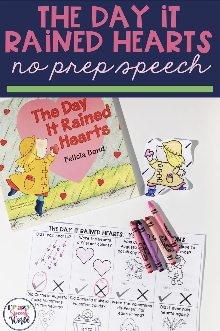 "This NO prep book companion for ""The Day It Rained Hearts"" is full of activities for speech therapy around Valentine's Day!"