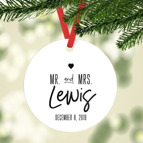 Mr and Mrs Custom Christmas Ornaments, Newlywed Ornament, Our First