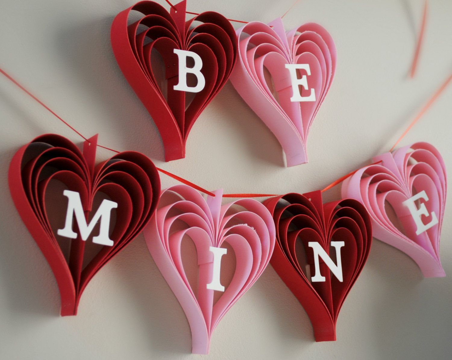 be mine banner valentines day garland of hand cut by paperpolaroid - Valentines Day Centerpieces