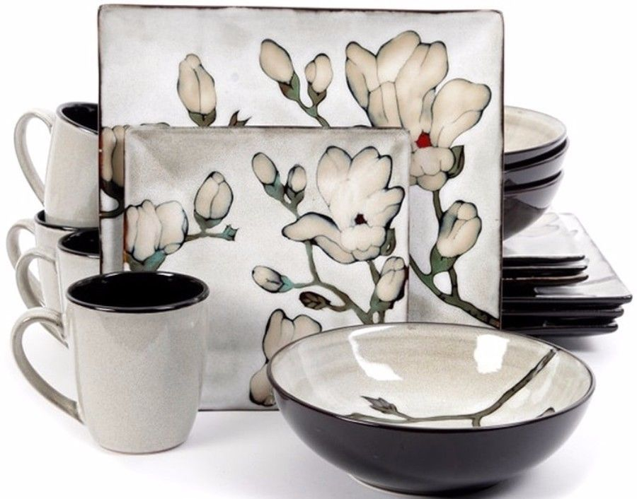 16-Piece Contemporary Dinnerware Set Floral Square Shape Plates Stoneware New  sc 1 st  Pinterest & 16-Piece Contemporary Dinnerware Set Floral Square Shape Plates ...