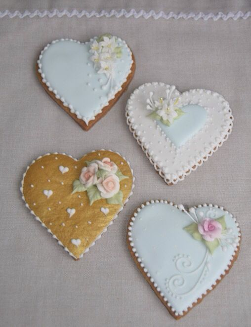 Corazones Lilium De Glase Cookies Royal Icing Glasé Real