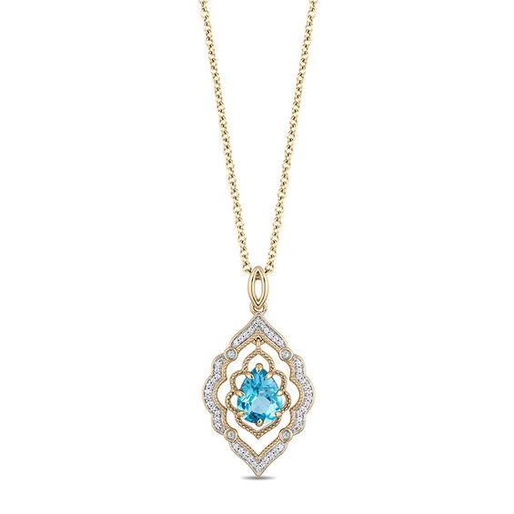 Enchanted Disney Aladdin Pear Shaped Swiss Blue Topaz And