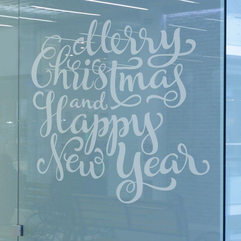 """Un texte """"Merry Christmas & Happy New Year"""" tout en finesse qui habillera votre vitre en annonçant les fêtes de fin d'années!"""
