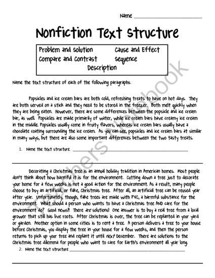 Nonfiction Text Structure worksheet from Crafting Connections with ...