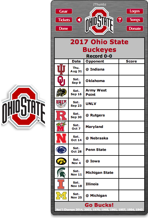 Get your 2017 Ohio State Buckeyes Football Schedule App