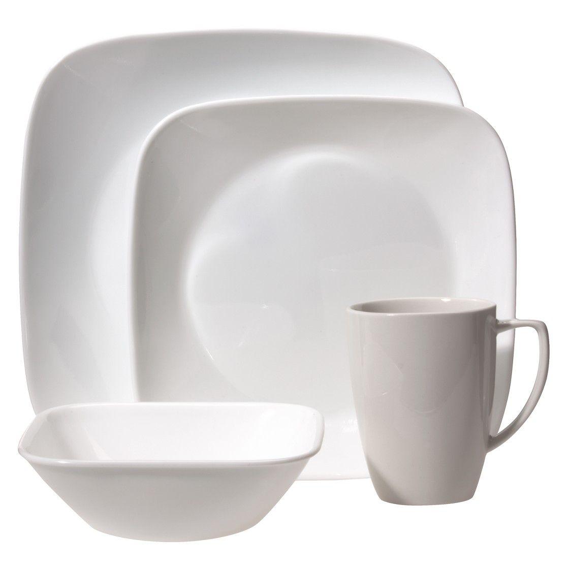 Corelle Square 20pc Vitrelle Dinnerware Set Pure White   Square ...