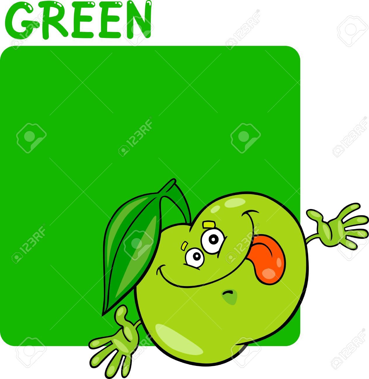 14169995-Ilustraci-n-de-dibujos-animados-de-color-verde-y-Apple-Foto ...