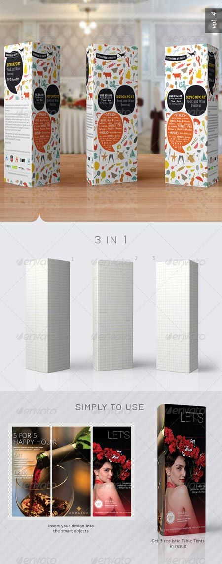 LOTS Of Mockup PSD Files GraphicRiver Paper Trifold Table Tent - Tri fold table tent