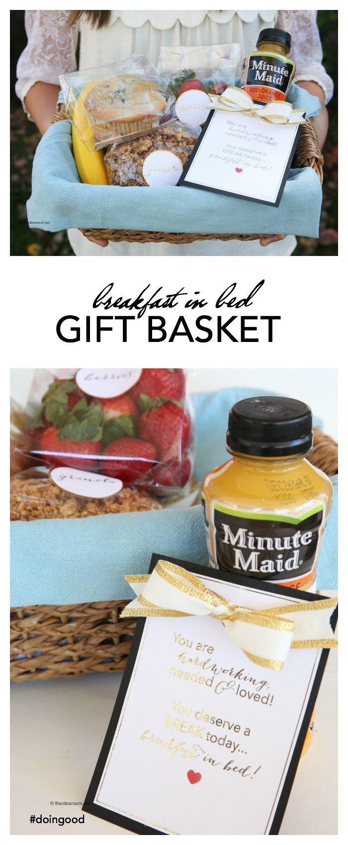 Breakfast In Bed Gift Basket Idea And Printables Breakfast Gift Breakfast Gift Basket Breakfast Basket
