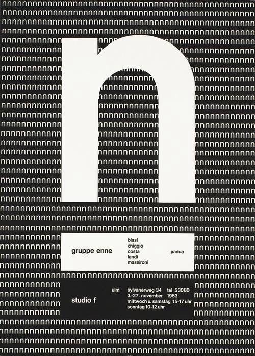 Almir Mavignier, exhibition poster gruppe enne, padua & studio f, ulm, 1963. Source. The Brazilian born painter and graphic designer studied at the Ulm School of Design or hfg Ulm.