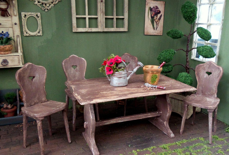 Meuble Miniature Echelle 1 12 Table De Cuisine En Bois Miniature Accessoire Mobilier Decoration Maison De Poupees Kitchen Table Wood Table Decorations Table
