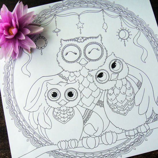 A Cute Owl Family Showing Off Their Love For You To Color