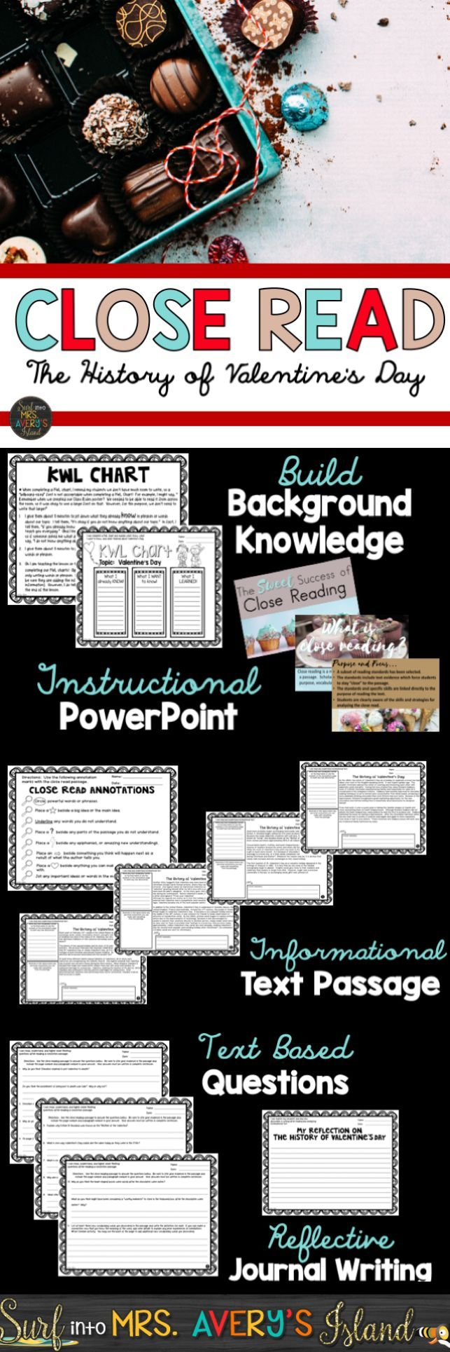 This close reading packet is full of printables and an instructional PowerPoint to provide your students opportunities to increase their vocabulary, reading fluency, and comprehension skills when reading a nonfiction passage.    Click here to take a look at this engaging close reading resource on The History of Valentine's Day.