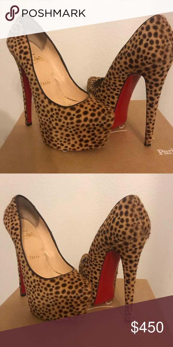 dde52d86ed6 Christian Louboutin leopard Daffodile Leopard pony hair platform pumps. Size  36.5 . Used . Heel is 5 inches high Christian Louboutin Shoes Platforms