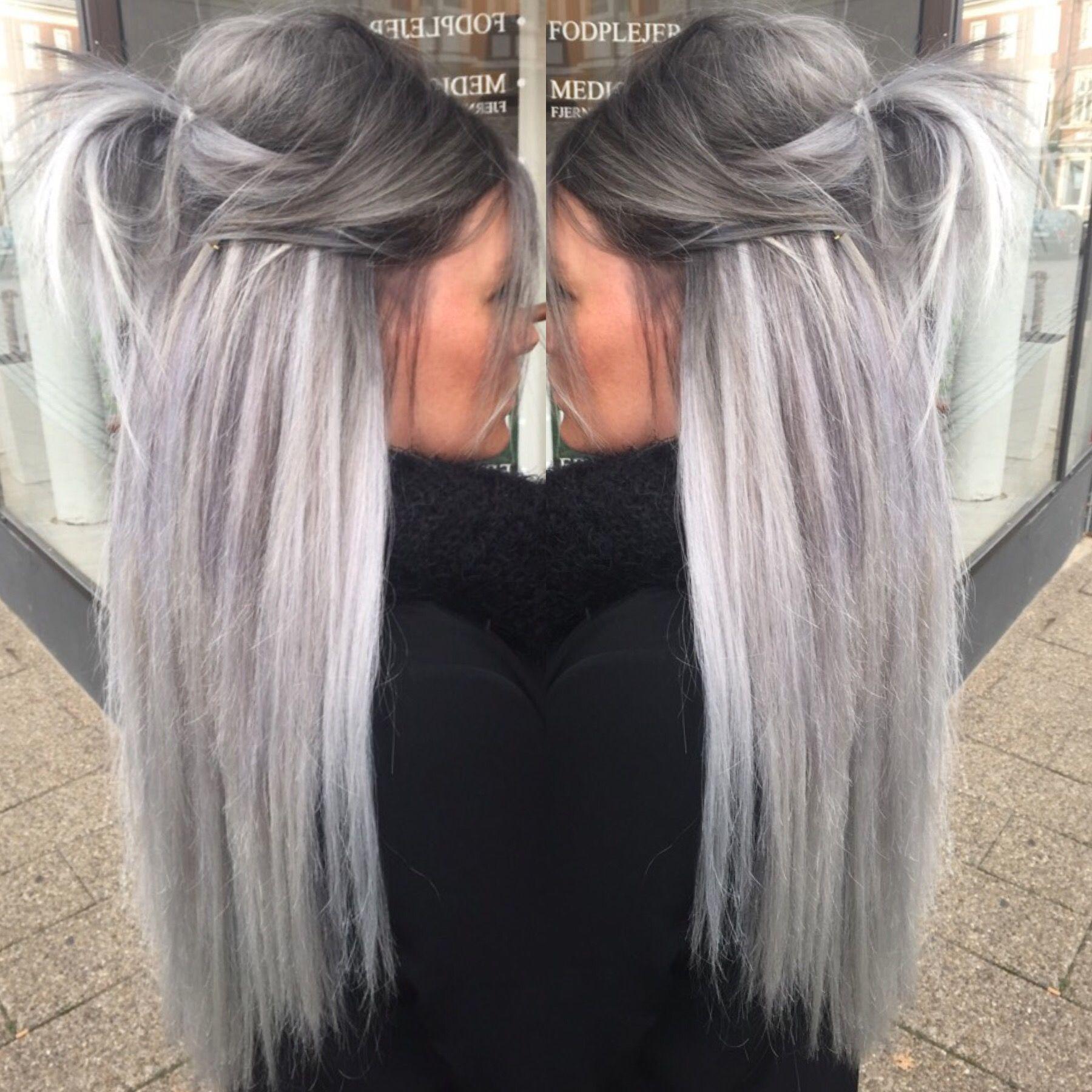 grå silver hår