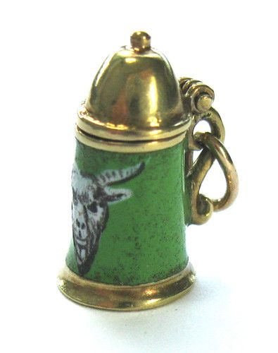 Vintage 14k Gold Enameled Tankard Beer Stein Charm from Slone & Co.