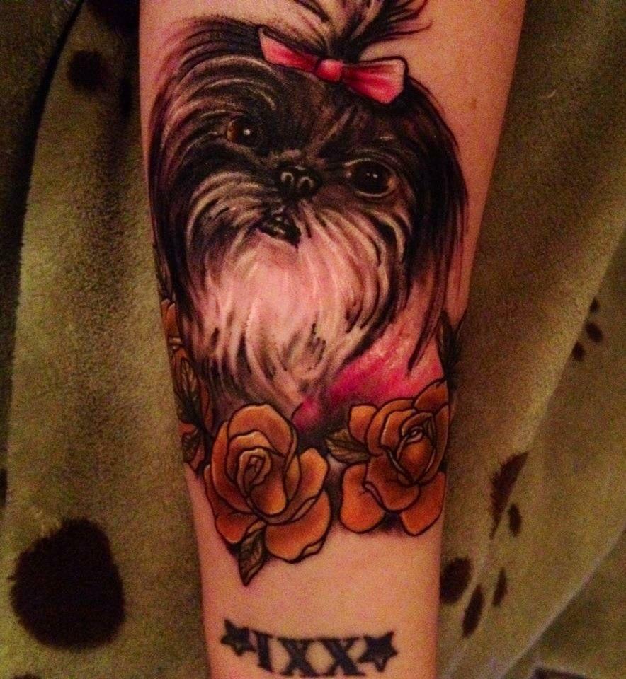 Shih Tzu Dog Memorial Portrait Tattoo My Beloved Lola