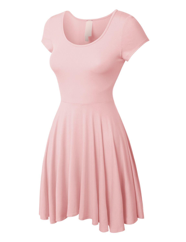 02e4f4e8591 LE3NO Womens Casual Short Sleeve Fit and Flare Asymmetrical Skater Dress