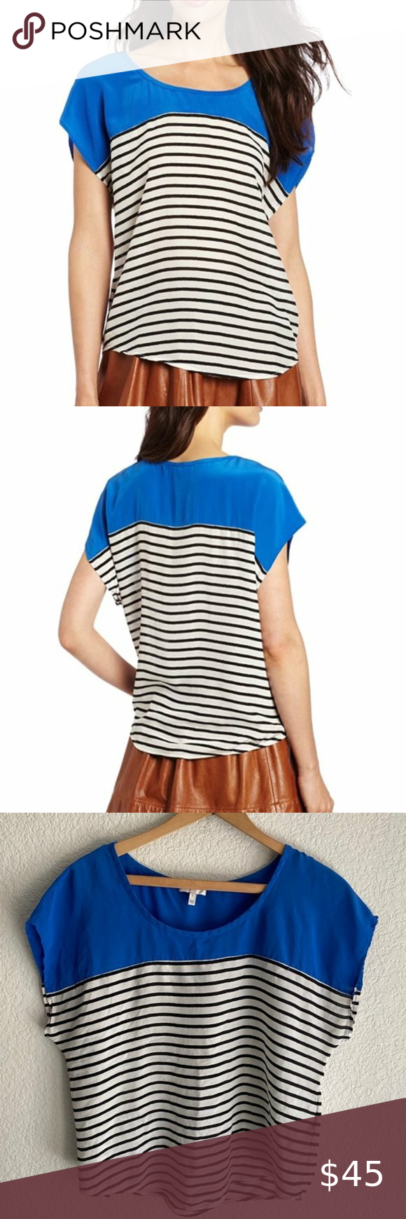 Joie 100 Silk Colorblock Blue White Striped Top Striped Top White Stripes Top Striped