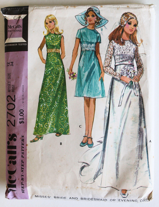 Vintage 1960s Long Bridal Long Sleeved ALine Column Dress