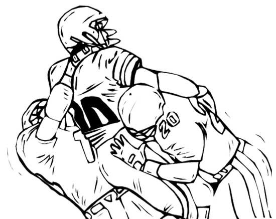 fighting three football player coloring page