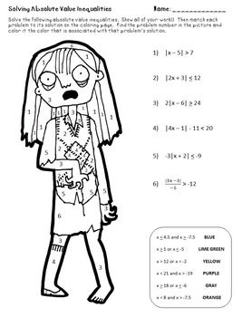 Zombie Color by Number Solving Absolute Value