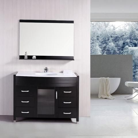Design Element 48 Waterfall Single Sink Vanity Set With White Top Dec017 W Bath Vanity Plus Modern Bathroom Vanity Bathroom Vanity Single Bathroom Vanity