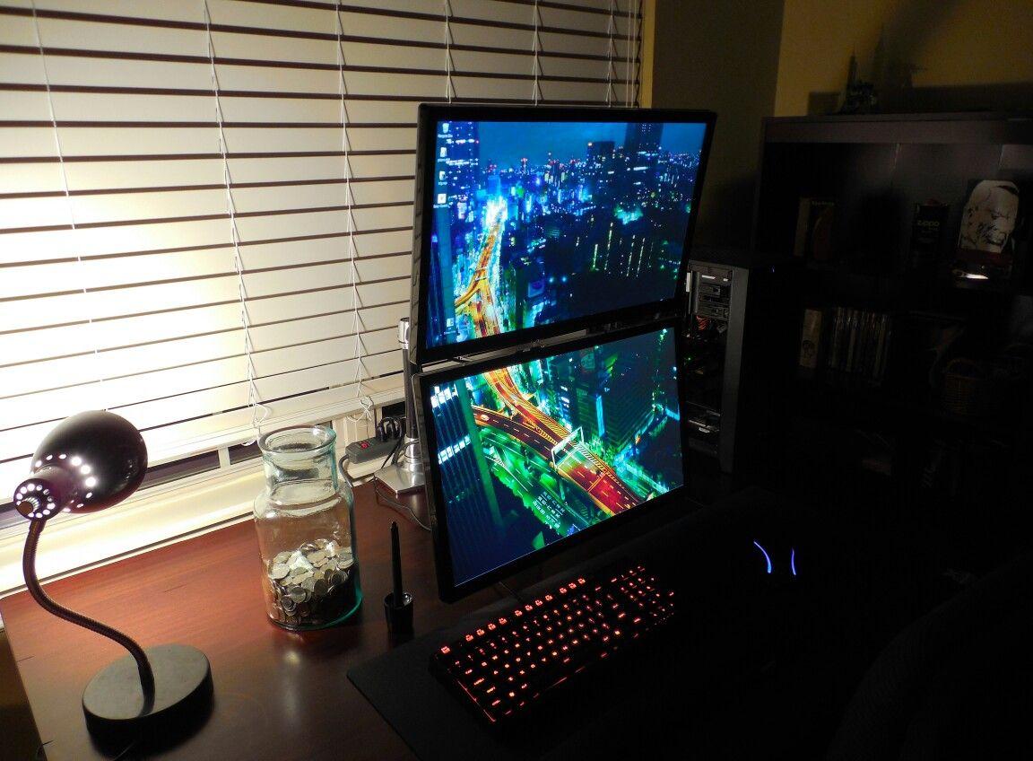 Stacked Monitors Monitor Dual Monitor Wallpaper Battlestation