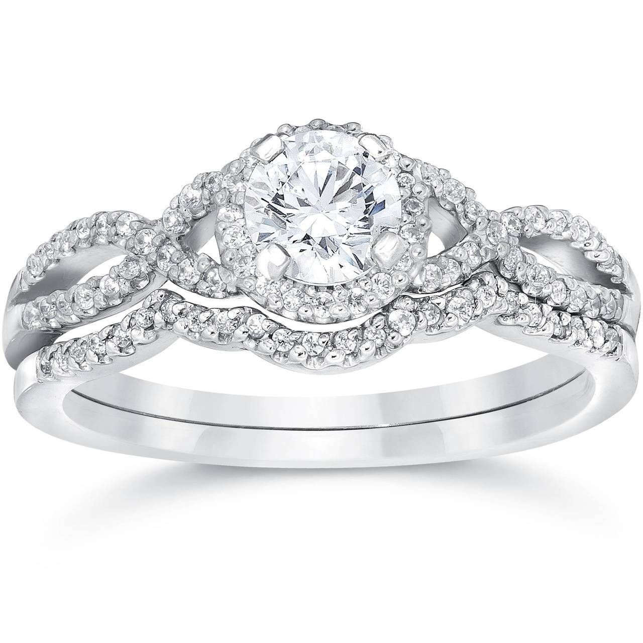34ct diamond infinity engagement wedding ring set 14k