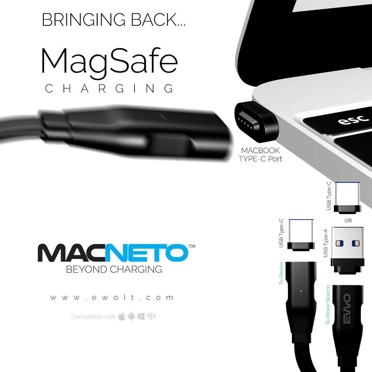 MACNETO Bringing Back MagSafe Charging A Magnetic Power Cable - Clever magnetic wall clock charges phone wirelessly